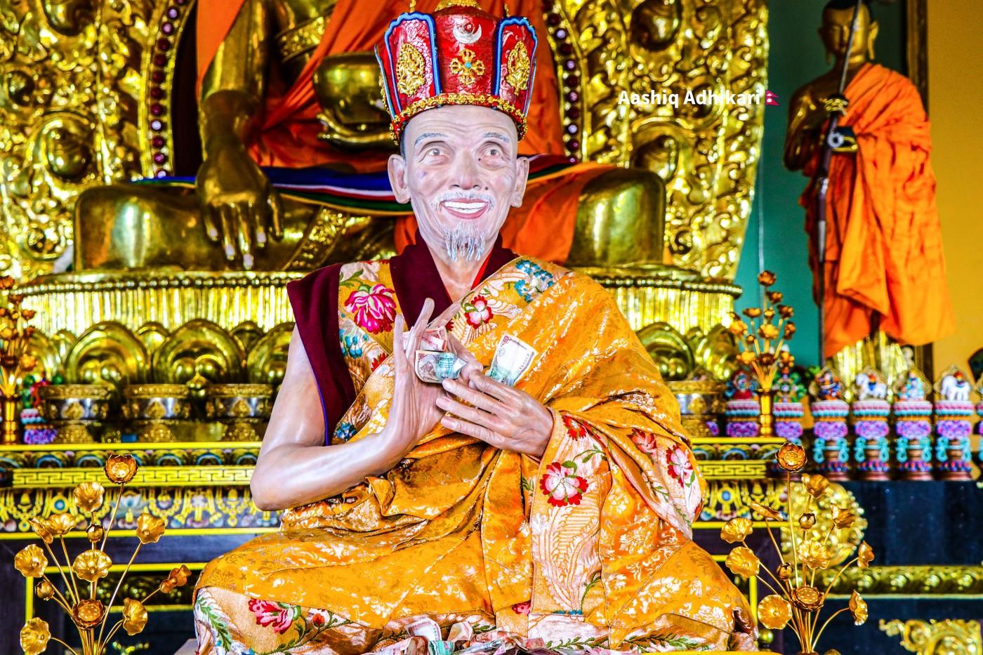 Beautiful statue located at Jamchen Buddhist Stupa, Budhanilkantha.