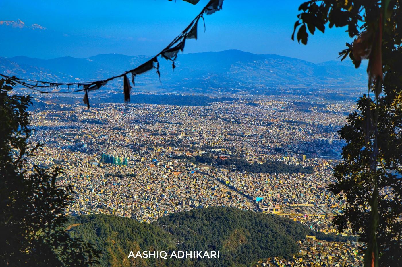Kathmandu Valley as seen from Jamacho height, Shivapuri-Nagarjun National Park.